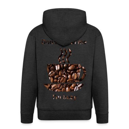 kahvi - Miesten premium vetoketjullinen huppari