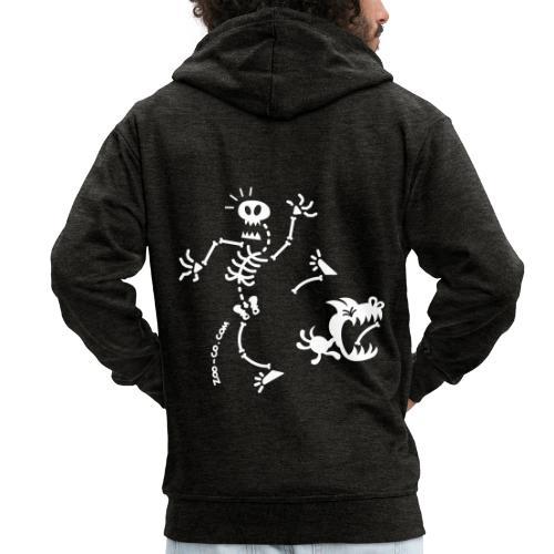 Dog Stealing Skeleton's Bone - Men's Premium Hooded Jacket