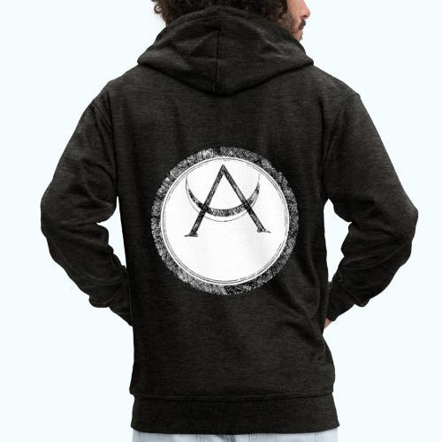 Mystic motif with sun and circle geometric - Men's Premium Hooded Jacket