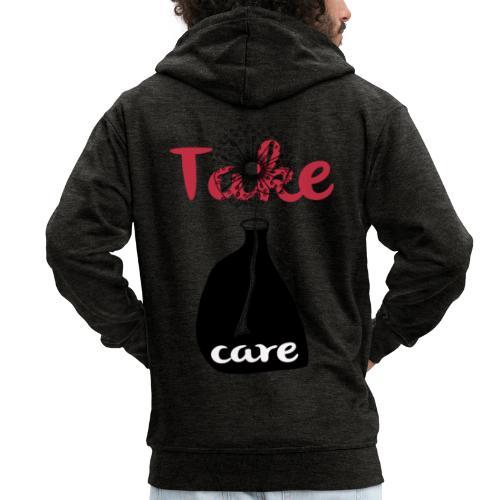 take_care - Felpa con zip Premium da uomo