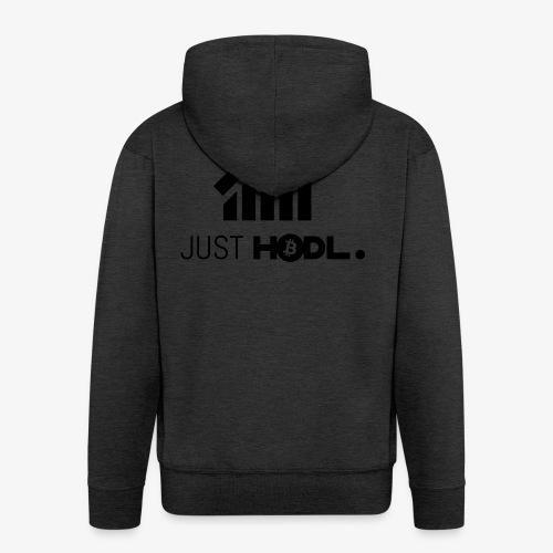 HODL-btc-just-black - Men's Premium Hooded Jacket