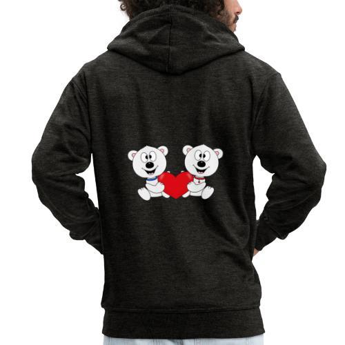 Lustige Eisbären - Herz - Liebe - Love - Fun - Männer Premium Kapuzenjacke