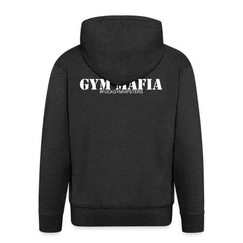gym_mafia_white - Rozpinana bluza męska z kapturem Premium