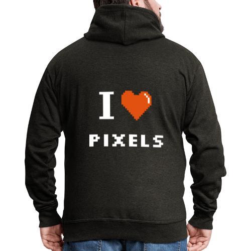 Iheart PIXELS - Men's Premium Hooded Jacket