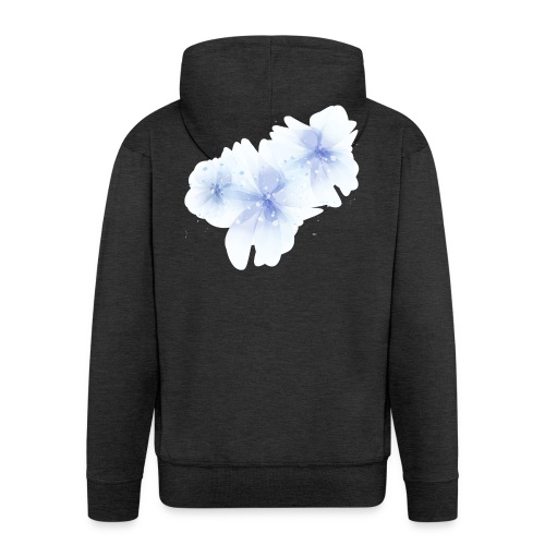 blue flowers - Rozpinana bluza męska z kapturem Premium