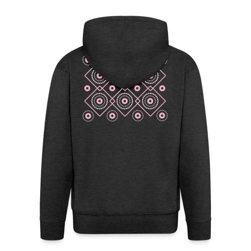 pink geometric print - Rozpinana bluza męska z kapturem Premium