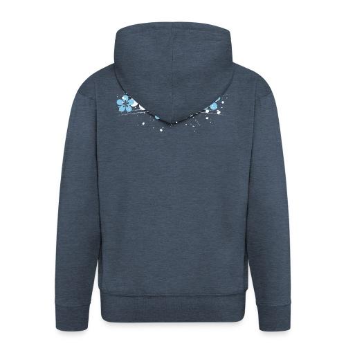 white and blue floral print - Rozpinana bluza męska z kapturem Premium
