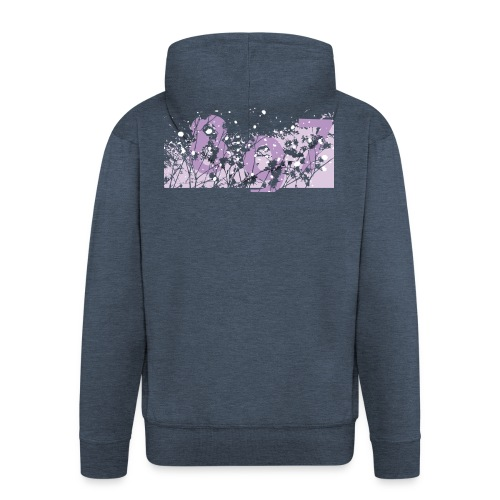 pink digital theme 897 - Rozpinana bluza męska z kapturem Premium