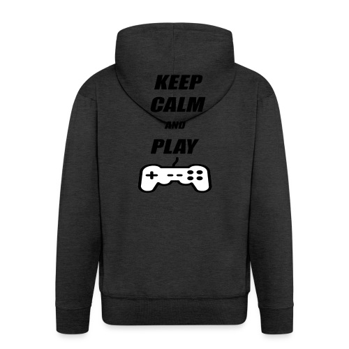 Maglietta Keep Calm And Play bianca. - Felpa con zip Premium da uomo