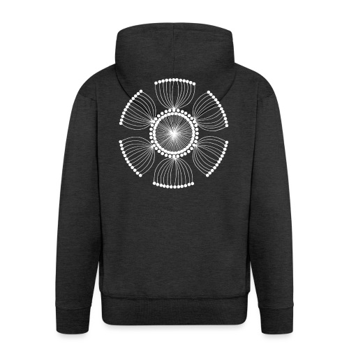 White Poppy Seed Mandala II - Men's Premium Hooded Jacket