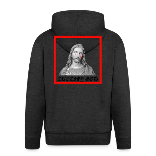 Crucify God | Sad Jesus - Miesten premium vetoketjullinen huppari