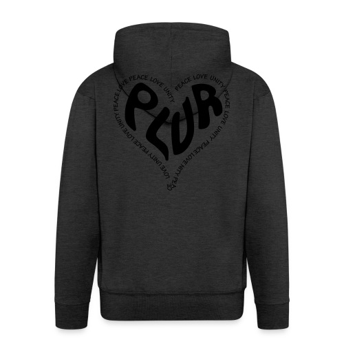 PLUR Peace Love Unity & Respect ravers mantra in a - Men's Premium Hooded Jacket