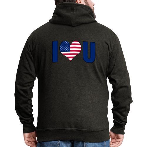 I love u USA - Men's Premium Hooded Jacket