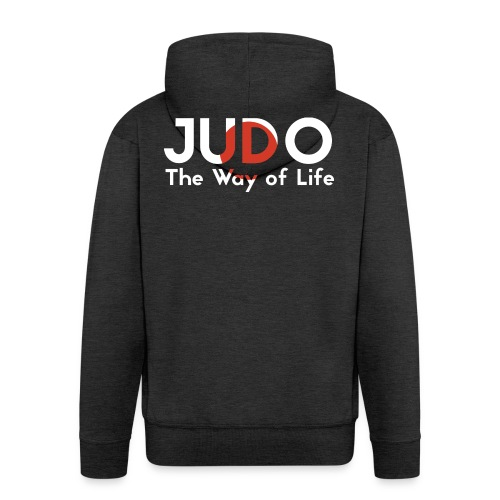 judo the way of life - Rozpinana bluza męska z kapturem Premium