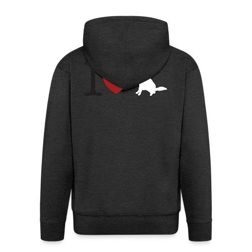 I LOVE White Dog - Rozpinana bluza męska z kapturem Premium
