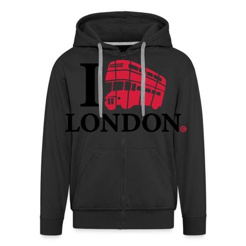I love (Double-decker bus) London - Men's Premium Hooded Jacket