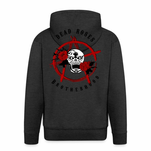 Dead Roses Anarchy Skull Black - Men's Premium Hooded Jacket