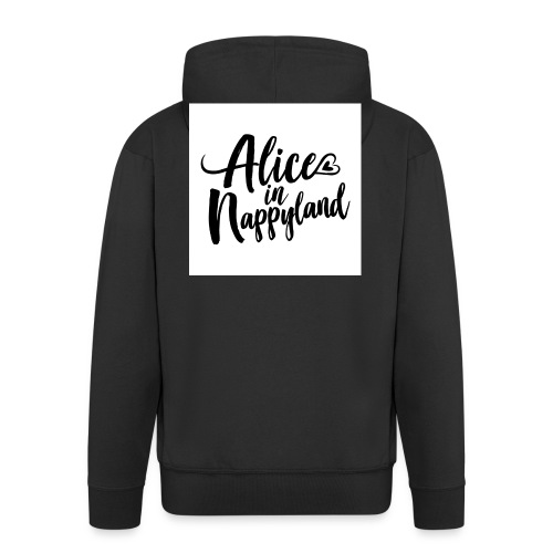 Alice in Nappyland Typography Black 1080 1 - Men's Premium Hooded Jacket