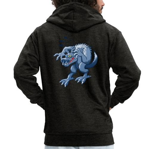 Werewolf Scratching Spooky Fleas - Men's Premium Hooded Jacket