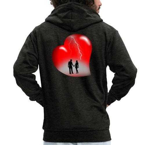 t shirt coeur rouge coup de foudre eclairs - Veste à capuche Premium Homme