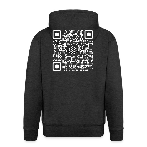QR Safenetforum White - Men's Premium Hooded Jacket