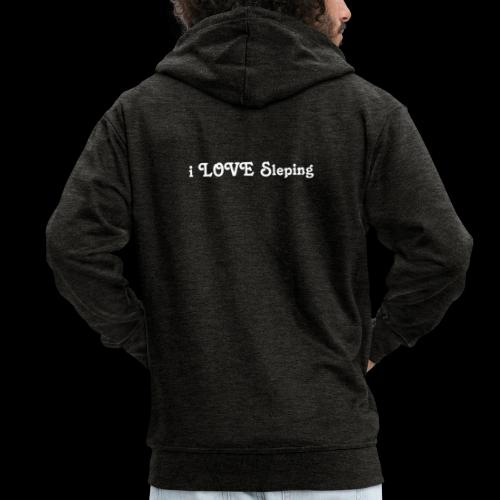 i love sleeping weiss - Felpa con zip Premium da uomo