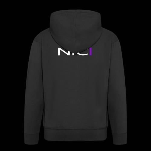 NICI logo WHITE - Miesten premium vetoketjullinen huppari