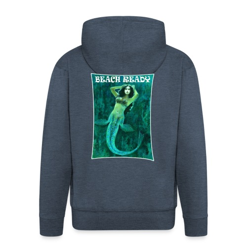 Vintage Pin-up Beach Ready Mermaid - Men's Premium Hooded Jacket