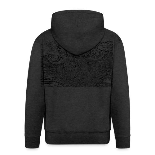Kat kop (zwart) - Mannenjack Premium met capuchon