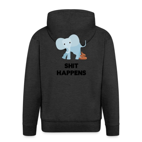 olifant met drol shit happens poep schaamte - Mannenjack Premium met capuchon