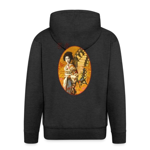 Vintage Japanese Geisha Oriental Design - Men's Premium Hooded Jacket