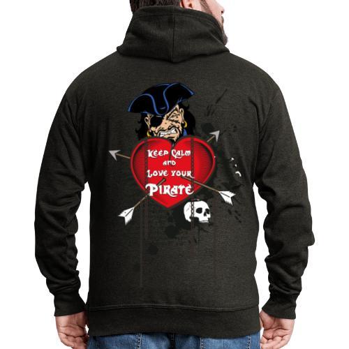 love your pirate - Felpa con zip Premium da uomo