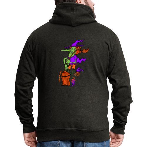 Crazy Witch Dancing with her Broomstick - Men's Premium Hooded Jacket