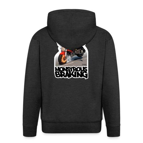 Ducati Monster, a motorcycle stoppie. - Chaqueta con capucha premium hombre
