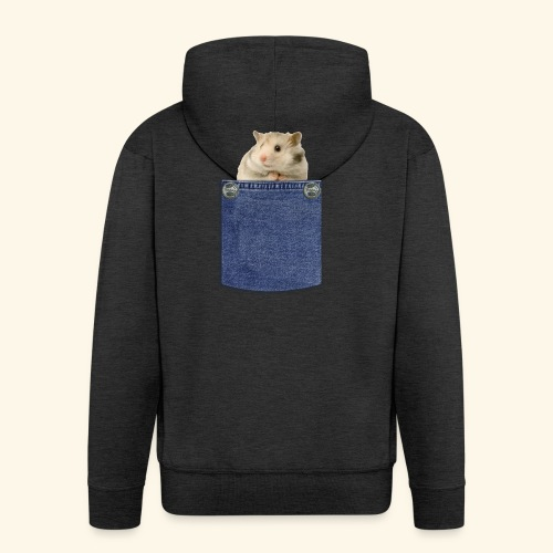 hamster in the poket - Felpa con zip Premium da uomo