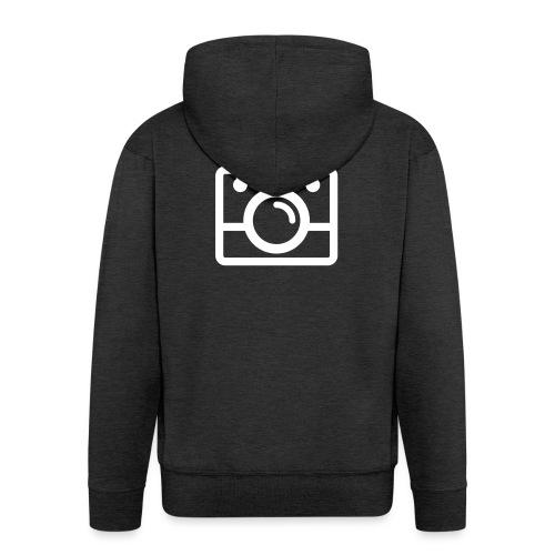 White AYWMC Camera logo - Men's Premium Hooded Jacket