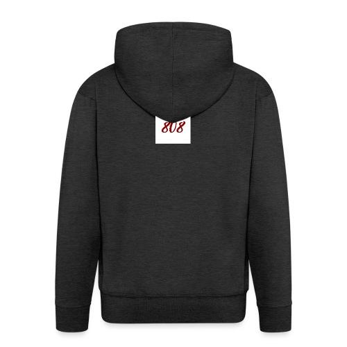 808 red on white box logo - Men's Premium Hooded Jacket