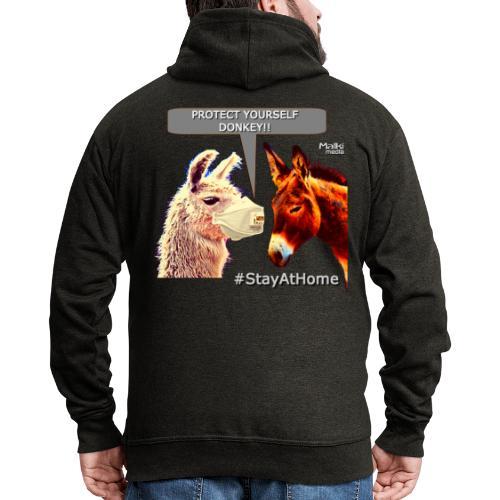 Protect Yourself Donkey - Coronavirus - Men's Premium Hooded Jacket