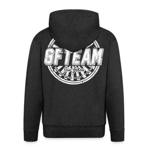 GFTEAM distressed Logo White - Men's Premium Hooded Jacket