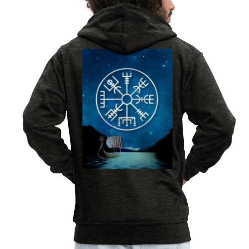 Vegvisir fiordo vichingo - Felpa con zip Premium da uomo