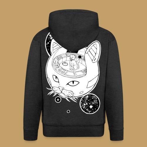 Kosmiczny Kot Imperator - Rozpinana bluza męska z kapturem Premium