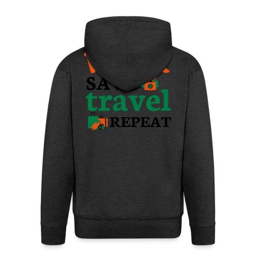 Work - Save - Travel - Repeat - Mannenjack Premium met capuchon