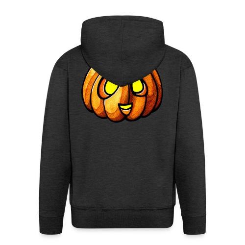 Pumpkin Halloween watercolor scribblesirii - Men's Premium Hooded Jacket