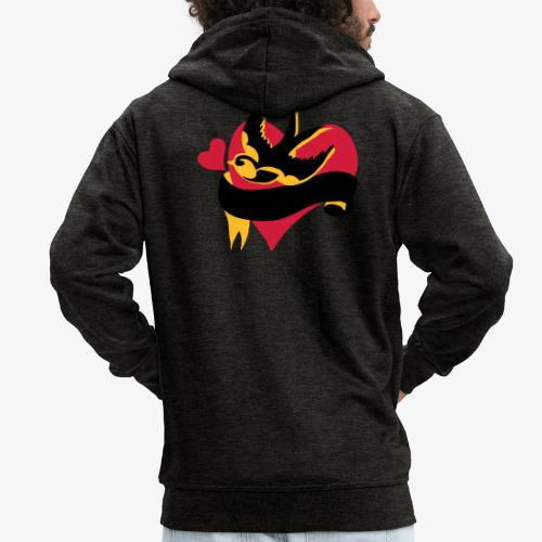 retro tattoo bird with heart - Men's Premium Hooded Jacket