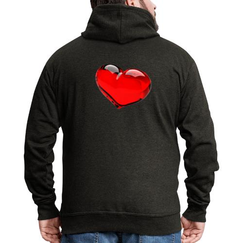 serce 3D - Rozpinana bluza męska z kapturem Premium