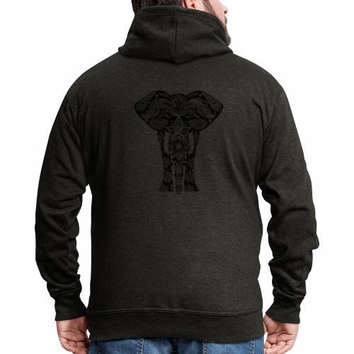 Ażurowy słoń - Rozpinana bluza męska z kapturem Premium