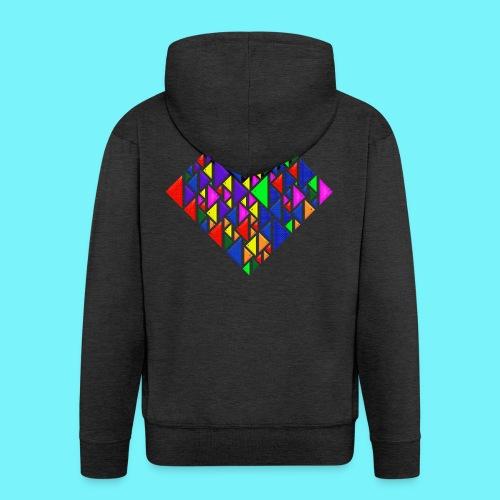 A square school of triangular coloured fish - Men's Premium Hooded Jacket