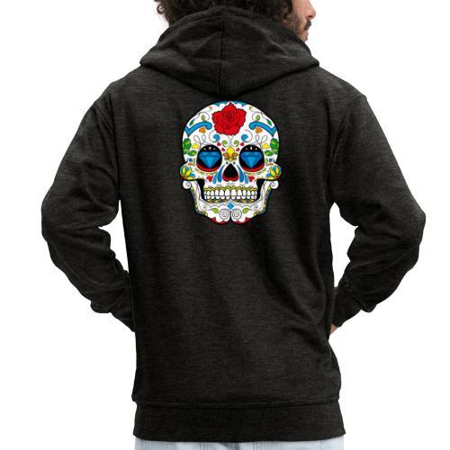 skull2 - Felpa con zip Premium da uomo