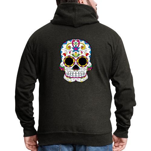 skull7 - Felpa con zip Premium da uomo