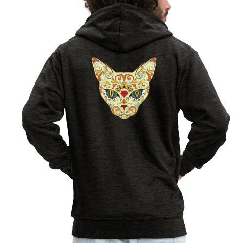 Skull Cat - Felpa con zip Premium da uomo